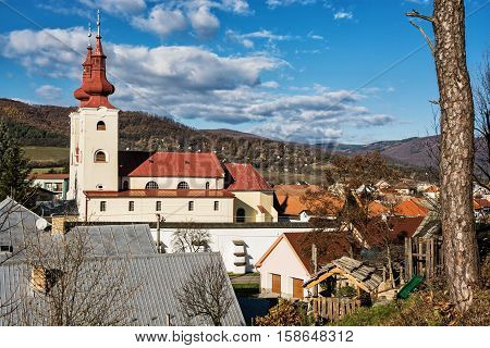 Roman catholic church in Divin village Slovak republic. Religious architecture. Cultural heritage. Beautiful place.