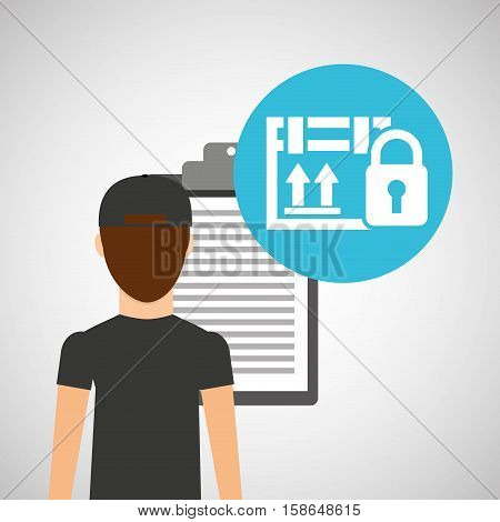 man delivery checking cardboard box security padlock vector illustration eps 10
