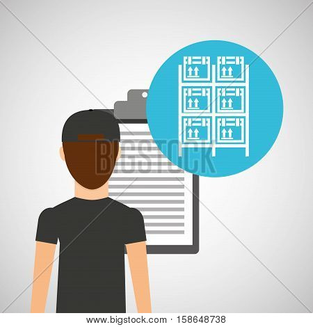 man delivery checking boxes racks storage vector illustration eps 10