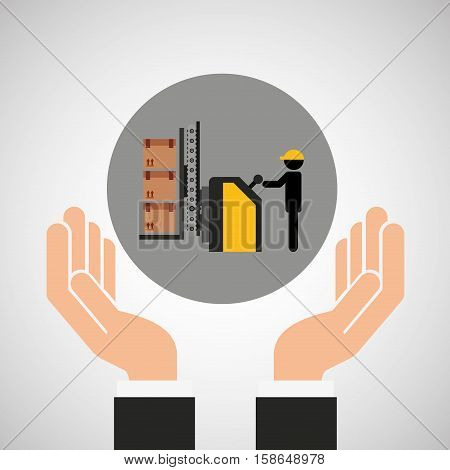 hand delivery service loader boxes graphic vector illustration eps 10