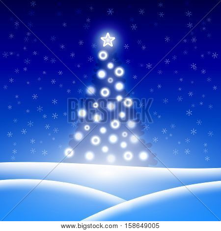 Christmas background with Christmas tree. Vector illustration.