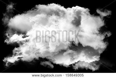 Single white smoky cloud shape isolated over black background realistic fluffy cloud 3D rendering illustration