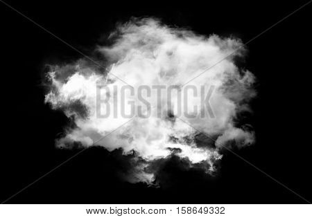 Single white cloud isolated over black background realistic round fluffy cloud 3D rendering illustration