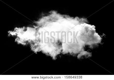 Single white cloud isolated over black background realistic cloud 3D rendering illustration