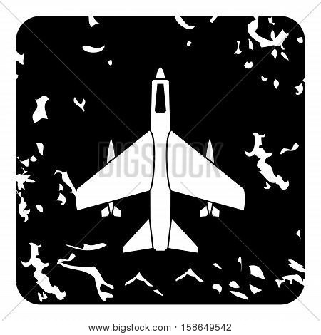 Aircraft with missiles icon. Grunge illustration of plane vector icon for web design