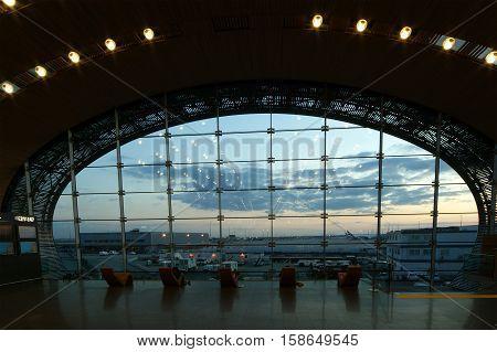 Paris, France, May 12: Paris, France, May 12, 2012.  Charles De Gaulle Airport, Terminal 2E Departur
