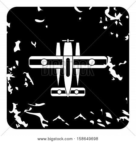 Military biplane icon. Grunge illustration of plane vector icon for web design
