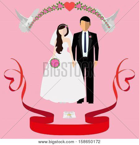 Happy Newlyweds. Vector Illustration.
