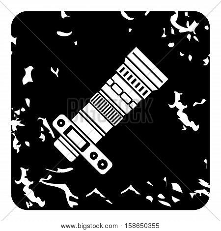 Camera with zoom lens icon. Grunge illustration of camera with zoom lens vector icon for web design