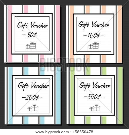 Elegance gift vouchers design template with striped background and gift boxes line icons. Fashionable gift sertificates for stores and shops