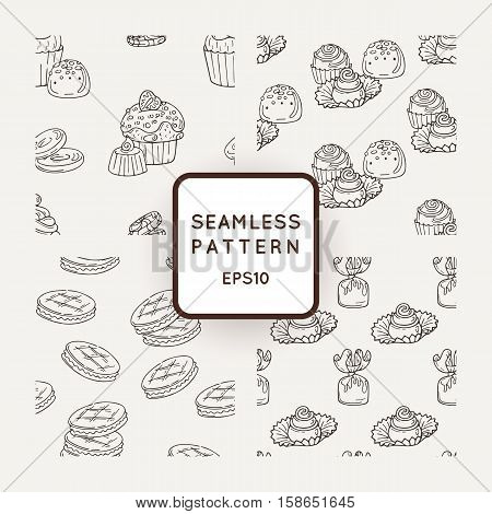 Set of Vector Candy, Cooky and Muffins Seamless Patterns. Sweet Party Texture. Buns, cooky and jelly beans.