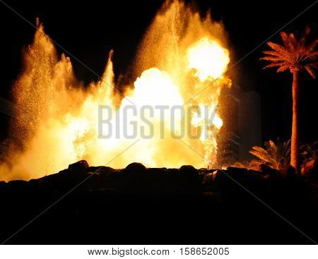LAS VEGAS, NEVADA - JANUARY, 2016: Mirage Volcano show. Big Fire Explosion with nice little sparkles