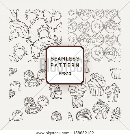 Set of Vector Candy and Muffins Seamless Patterns. Sweet Party Texture. Donuts, sweet icing and jelly beans.