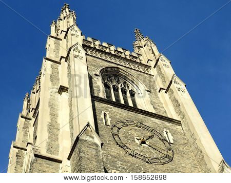 Clock of the Soldiers Tower in the University of Toronto in Toronto Canada November 18 2016