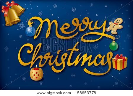illustration of happy merry christmas calligraphy lettering and decoration