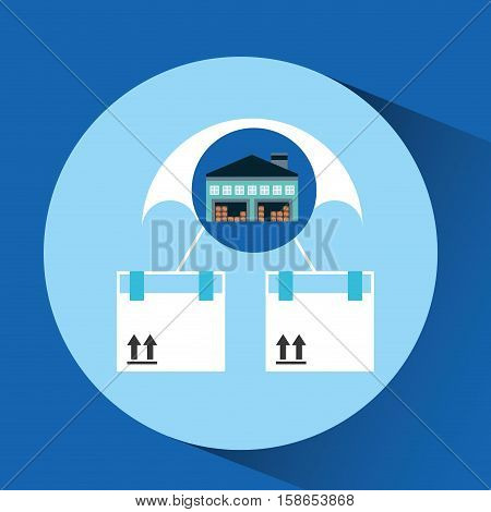 warehouse building airmail shipping vector illustration eps 10