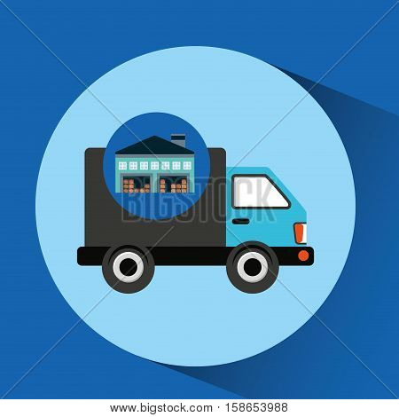 warehouse building delivery van service vector illustration eps 10