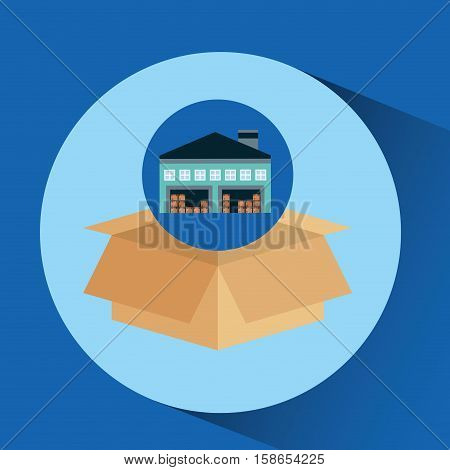 warehouse building cardboard box vector illustration eps 10
