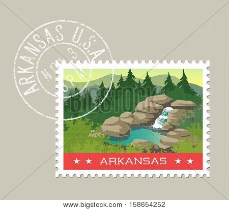 Arkansas, postage stamp design. Detailed vector illustration of scenic landscape with grunge postmark on separate layer