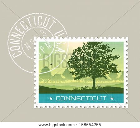 Connecticut postage stamp design. Detailed vector illustration of scenic morning landscape with grunge postmark on separate layer