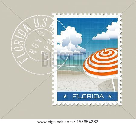 Florida postage stamp design. Detailed vector illustration of scenic beach with grunge postmark on separate layer