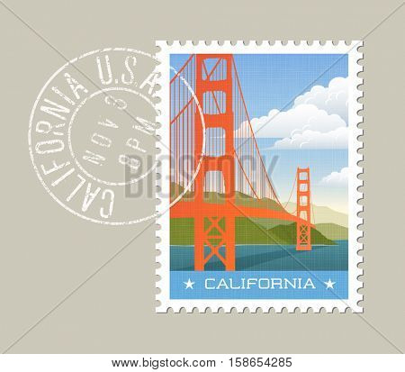 California postage stamp design. Vector illustration of golden gate bridge with grunge postmark on separate layer