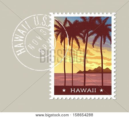 Hawaii postage stamp design. Vector illustration of tall palm trees at sunset with grunge postmark on separate layer
