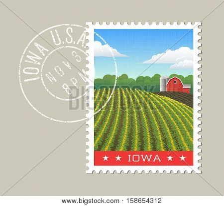 Iowa postage stamp design. Vector illustration of scenic farm landscape with grunge postmark on separate layer