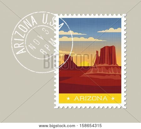 Arizona postage stamp design. Detailed vector illustration of scenic desert landscape with grunge postmark on separate layer