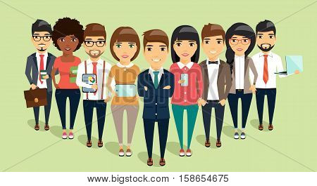 The concept of a young business team headed by the leader. Business office people. Happy people