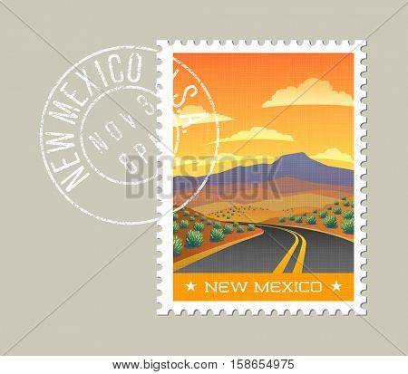 New Mexico postage stamp design.  Vector illustration of highway through arid landscape. Grunge postmark on separate layer