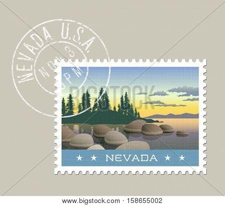 Nevada postage stamp design.  Vector illustration of Lake Tahoe shoreline. Grunge postmark on separate layer