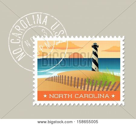 North Carolina postage stamp design.  Vector illustration of lighthouse on the outer banks. Grunge postmark on separate layer