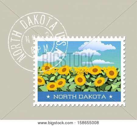 North Dakota postage stamp design.  Vector illustration of field of sunflowers. Grunge postmark on separate layer
