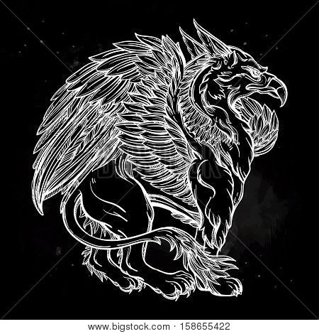 Hand drawn vintage Griffin, mythological magic winged beast with crown. Victorian motif, tattoo design element. Heraldry and logo concept art. Isolated vector illustration in line art style.