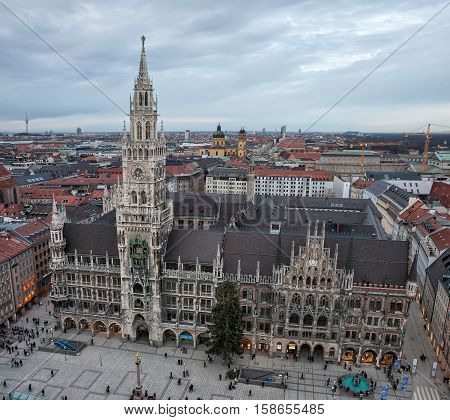MUNICH GERMANY - JANUARY 09 2011 - Aerial view on Marienplatz and New Town Hall