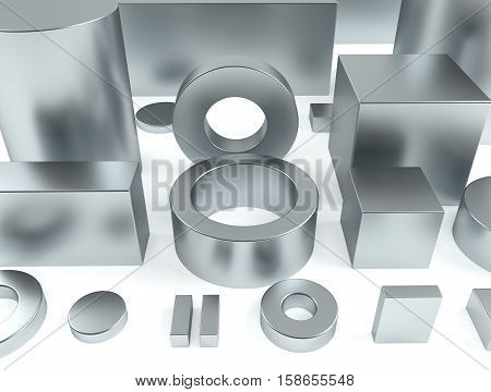 Metal shapes of iron and rare earth magnets 3D rendering