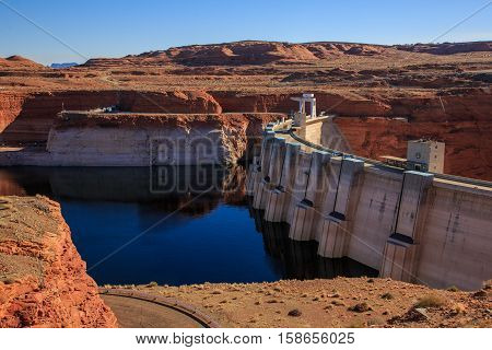Glen Canyon Dam On Colorado River, Page, Arizona, Us