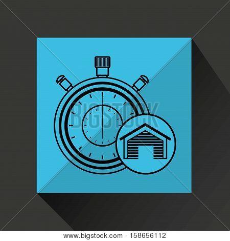 storage building service clock timer vector illustration eps 10