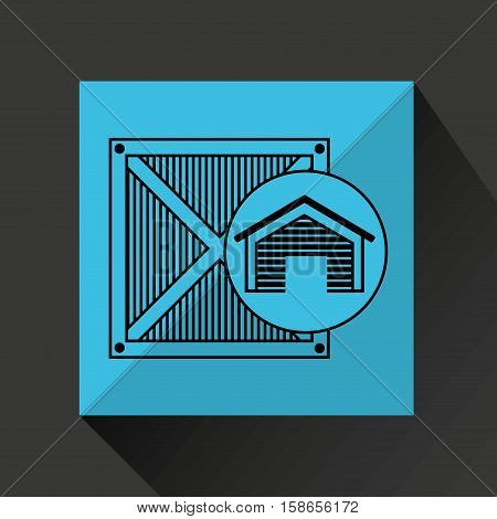storage building wooden box delivery icon vector illustration eps 10