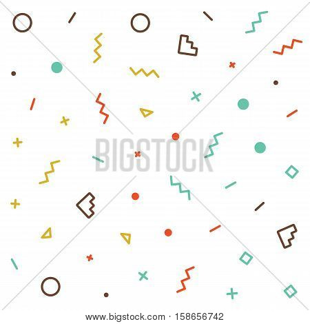 Vector Seamless Pattern Jumble Geometric colors Chaotic Lines Memphis minimal Abstract Background
