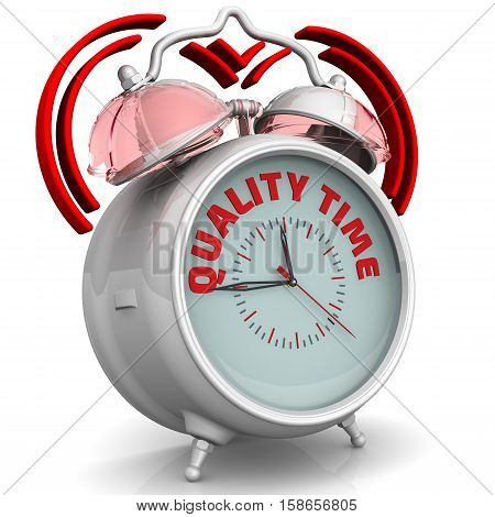Quality time. The alarm clock with an inscription. Alarm clock with the words