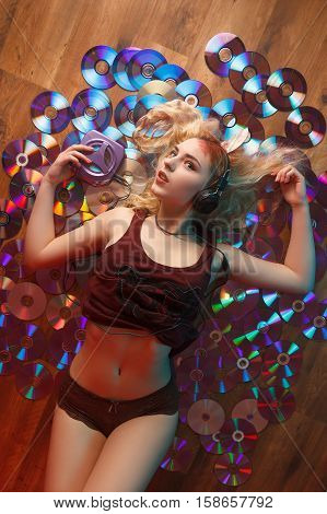 Beautiful Woman With Bloody Cd Parts Sticking Out Of Head