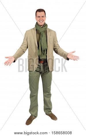 Joyful caucasian man in casual clothes with open embraces isolated on white studio background