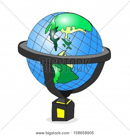outlined hand-drawn vector illustration of a spinning cartoon globe