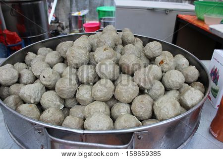 Traditional Indonesian meatballs snacks fast food bakso cook soup