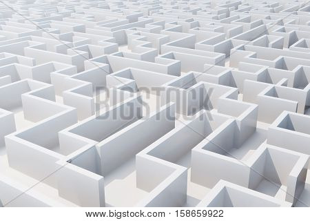 Top view of white labyrinth. 3d rendering.