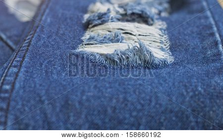 Denim Rip Background Texture in the Fabric.