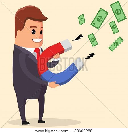 Vector Businessman using a magnet attracts money and luck, Smiling Manager Using A Magnet To Attracts Money.Flat Design Style Vector Illustration