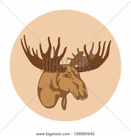 Moose head profile vector illustration style Flat